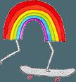 Kai Eardley logo - Rainbow Riding a Skateboard