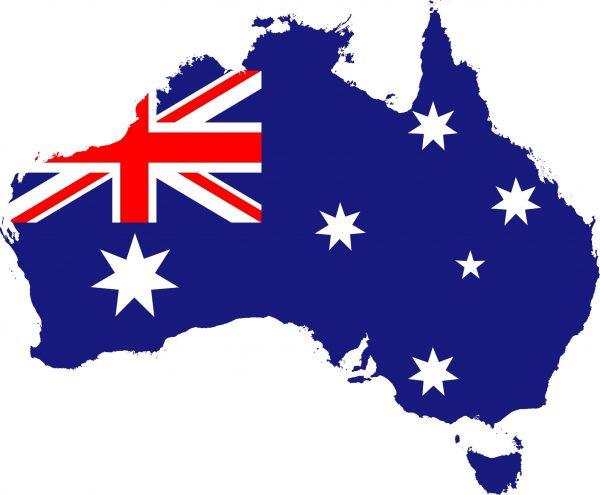 Australian map with flag print