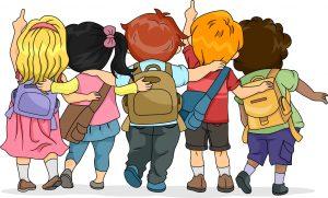 Cartoon Kids with School Bags
